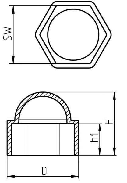 H 600 Sechskantschutzkappen